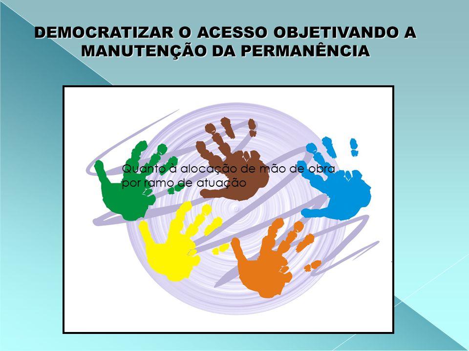 DEMOCRATIZAR O ACESSO OBJETIVANDO A MANUTENÇÃO DA PERMANÊNCIA Quanto à alocação de mão de obra por ramo de atuação