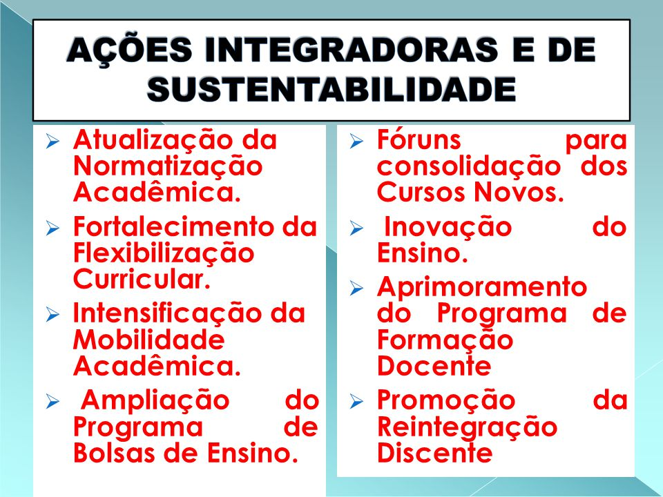  Atualização da Normatização Acadêmica.  Fortalecimento da Flexibilização Curricular.