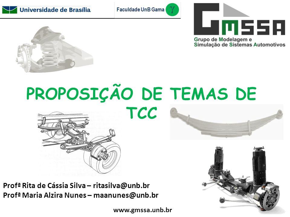 PROPOSIÇÃO DE TEMAS DE TCC Profª Rita de Cássia Silva – ritasilva@unb.br Profª Maria Alzira Nunes – maanunes@unb.br www.gmssa.unb.br