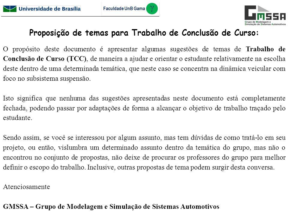 Proposição de temas para Trabalho de Conclusão de Curso: O propósito deste documento é apresentar algumas sugestões de temas de Trabalho de Conclusão
