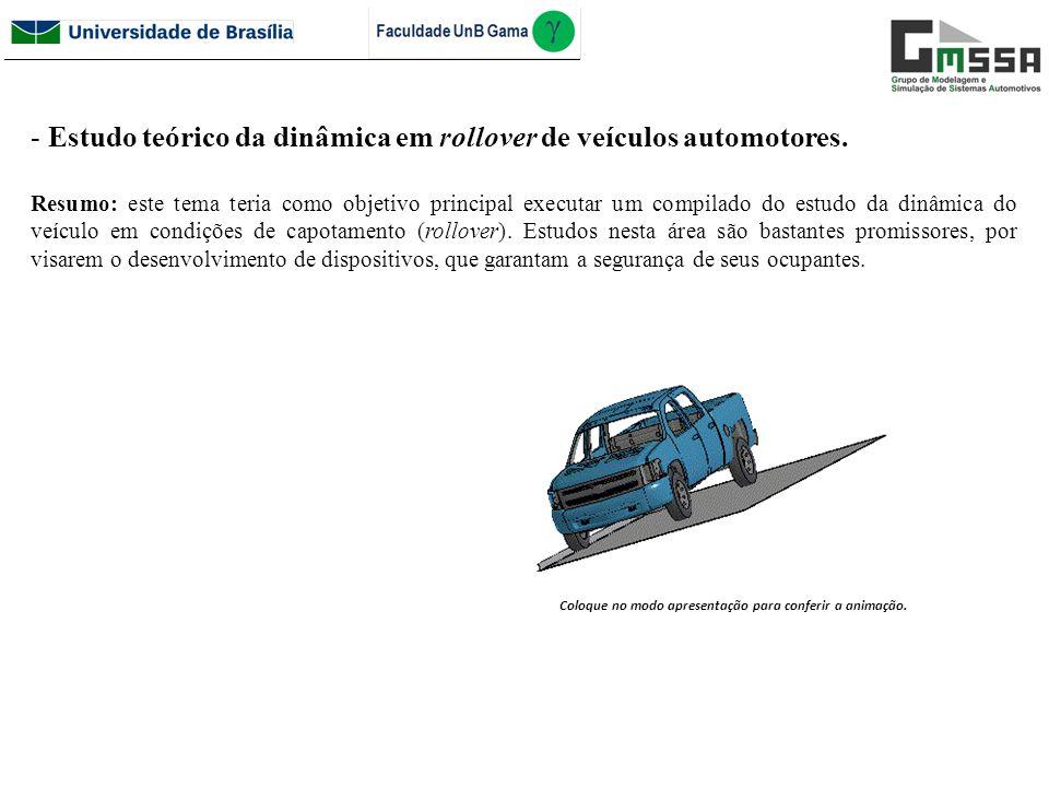 - Estudo teórico da dinâmica em rollover de veículos automotores. Resumo: este tema teria como objetivo principal executar um compilado do estudo da d
