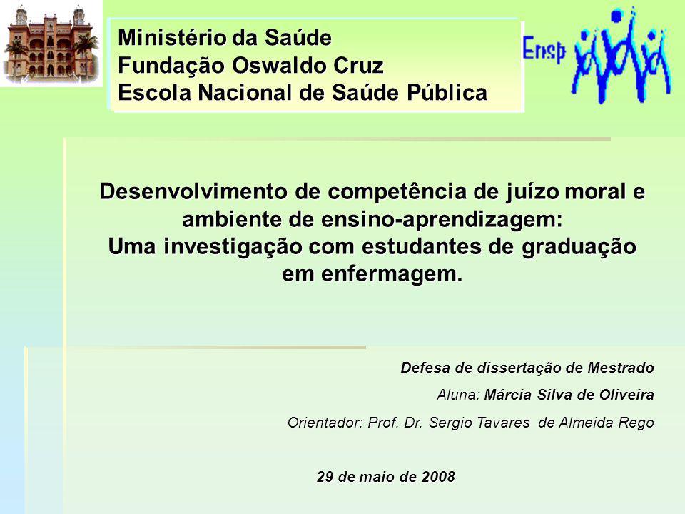 Desenvolvimento de competência de juízo moral e ambiente de ensino-aprendizagem: Uma investigação com estudantes de graduação em enfermagem. Ministéri