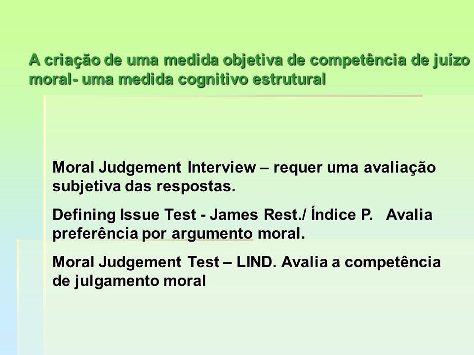 Moral Judgement Interview – requer uma avaliação subjetiva das respostas. Defining Issue Test - James Rest./ Índice P. Avalia preferência por argument