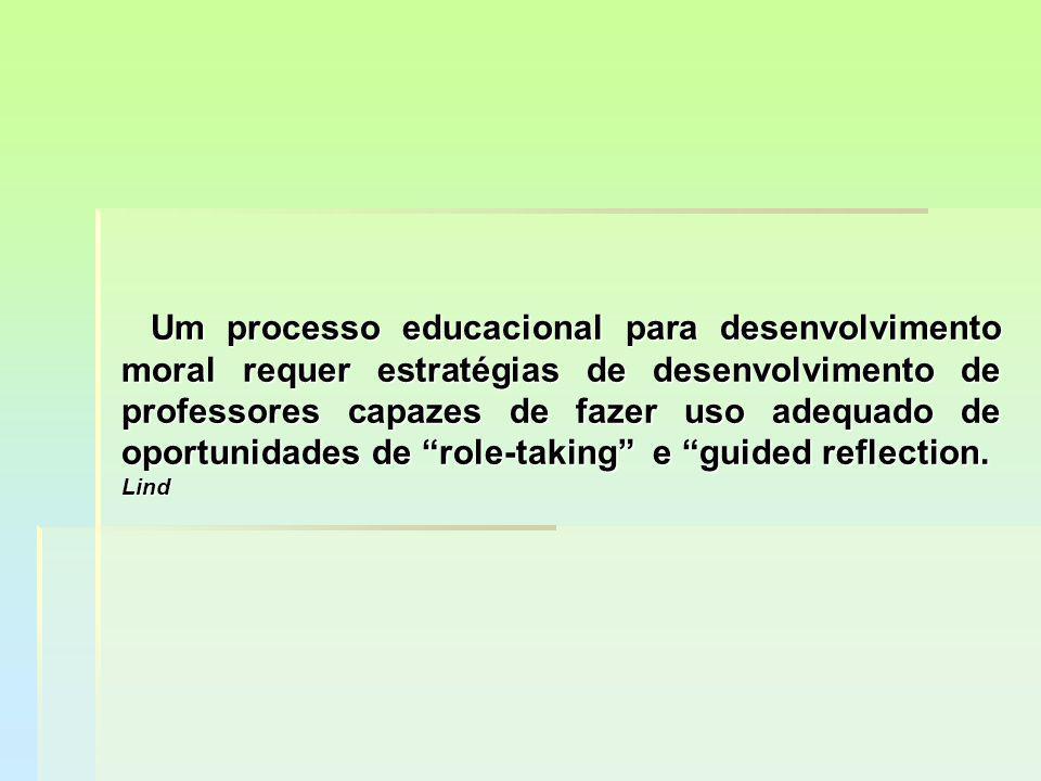 Um processo educacional para desenvolvimento moral requer estratégias de desenvolvimento de professores capazes de fazer uso adequado de oportunidades