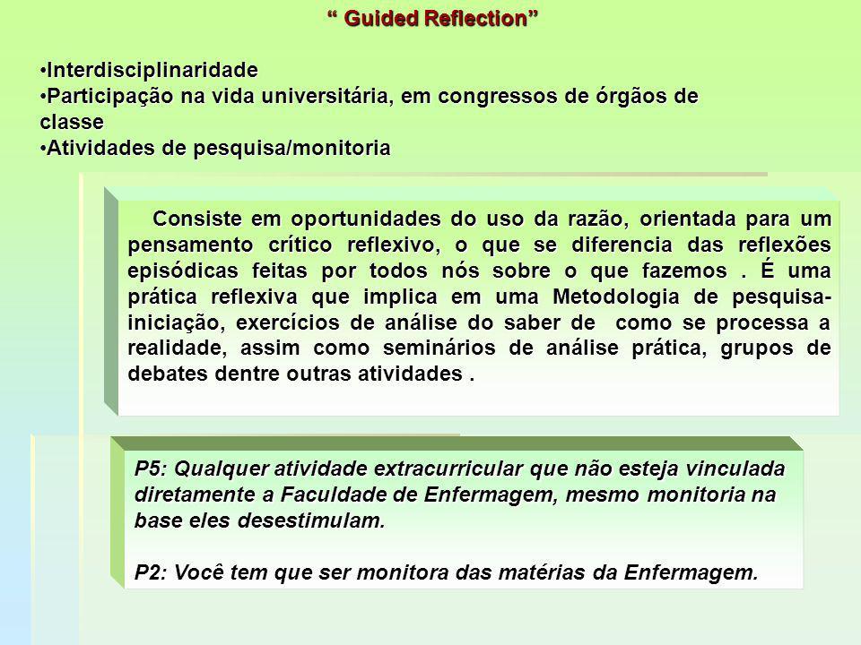 """"""" Guided Reflection"""" InterdisciplinaridadeInterdisciplinaridade Participação na vida universitária, em congressos de órgãos de classeParticipação na v"""