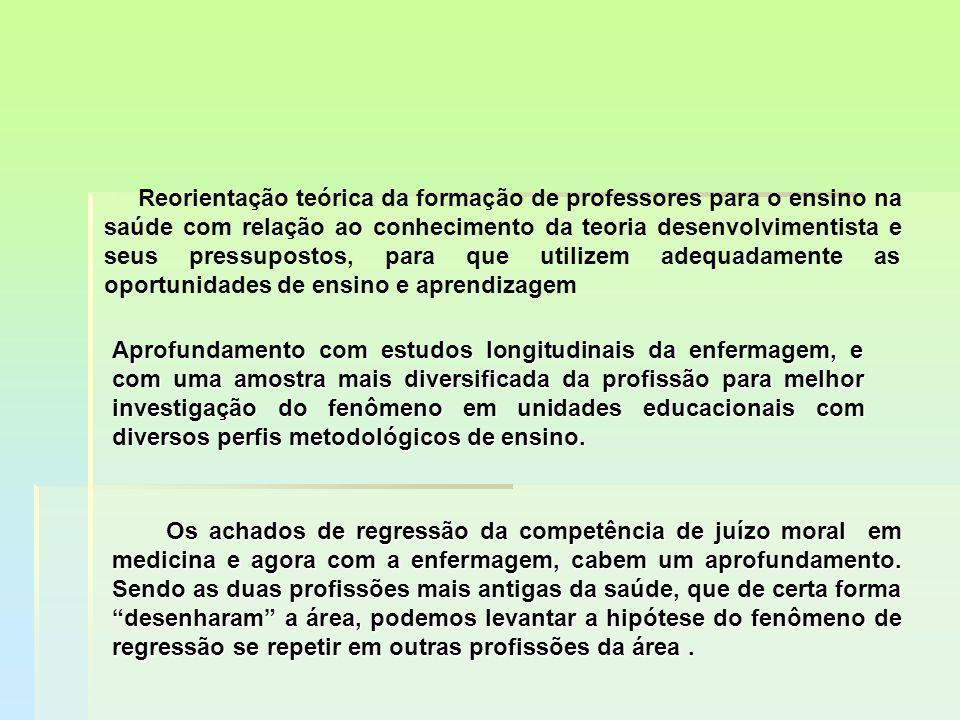 Reorientação teórica da formação de professores para o ensino na saúde com relação ao conhecimento da teoria desenvolvimentista e seus pressupostos, p