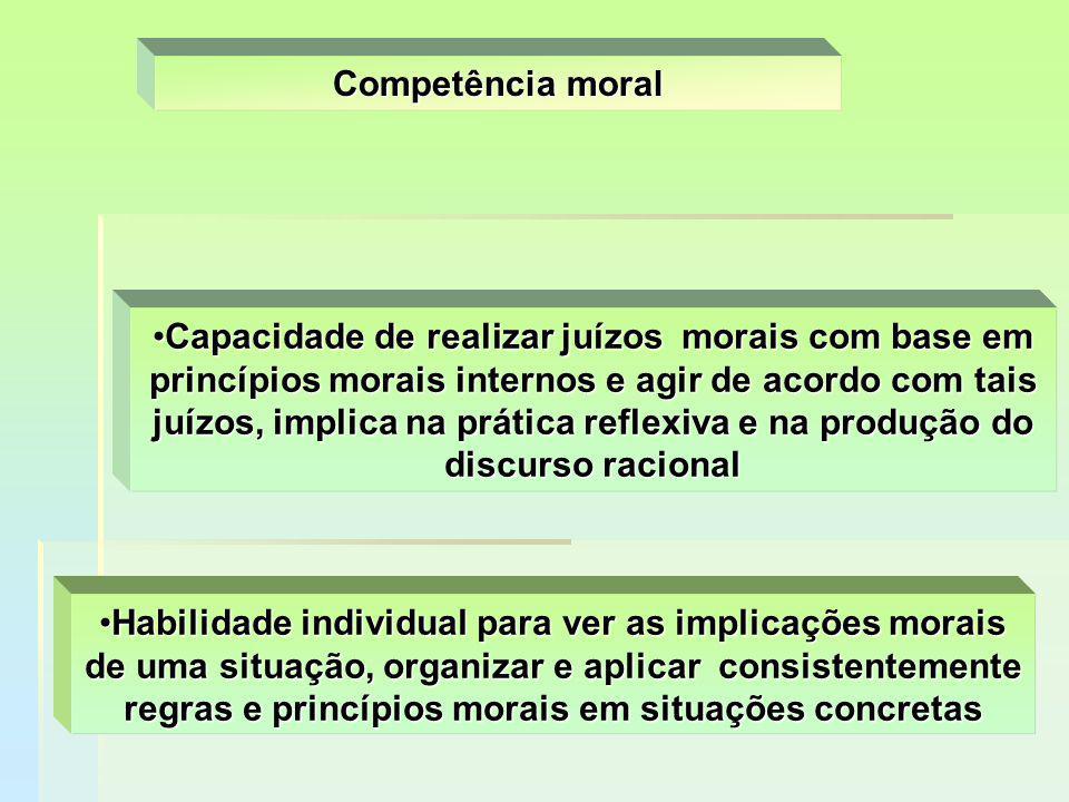 Habilidade individual para ver as implicações morais de uma situação, organizar e aplicar consistentemente regras e princípios morais em situações con