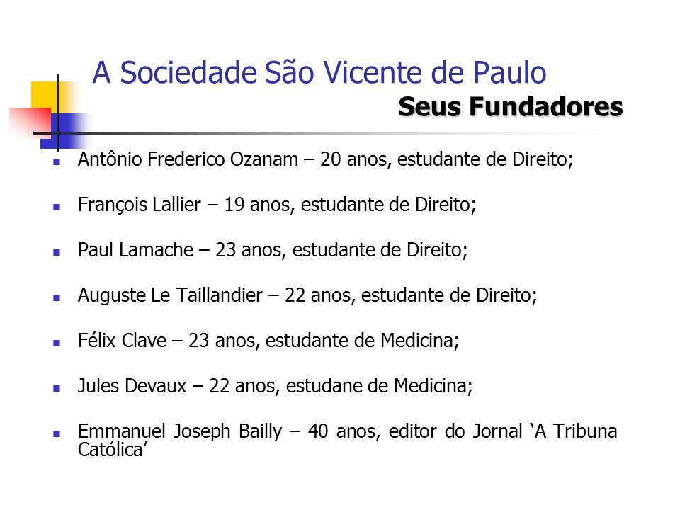 Seus Fundadores A Sociedade São Vicente de Paulo Seus Fundadores Antônio Frederico Ozanam Beatificado em 1997 pelo Papa João Paulo II; Líder da Democracia Cristã; Principal líder da juventide católica.