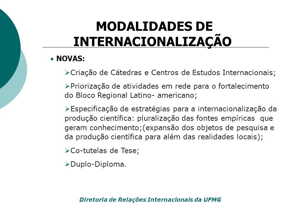 NOVAS:  Criação de Cátedras e Centros de Estudos Internacionais;  Priorização de atividades em rede para o fortalecimento do Bloco Regional Latino-