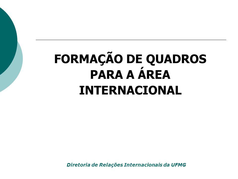 FORMAÇÃO DE QUADROS PARA A ÁREA INTERNACIONAL Diretoria de Relações Internacionais da UFMG