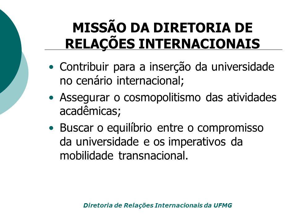 MISSÃO DA DIRETORIA DE RELAÇÕES INTERNACIONAIS Diretoria de Relações Internacionais da UFMG Contribuir para a inserção da universidade no cenário inte
