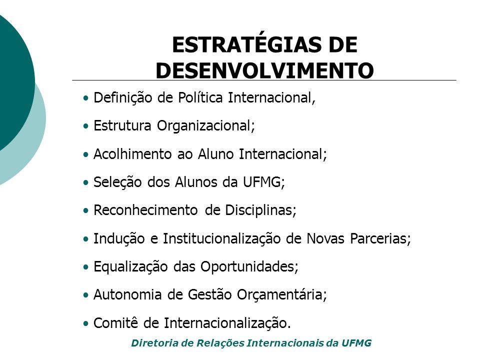 Aumento da procura por parte de instituições estrangeiras para estabelecimento de convênios de cooperação com a UFMG; Maior procura por participação conjunta em programas de pesquisa bilaterais e multilaterais, com apoio de agências de fomento; Ampliação da adesão e da participação da UFMG em redes de cooperação internacional; Ampliação da oferta de oportunidades internacionais para a comunidade universitária da UFMG; Aumento considerável da mobilidade de estudantes da UFMG e do recebimento de estudantes estrangeiros; INDICADORES DE CRESCIMENTO Diretoria de Relações Internacionais da UFMG