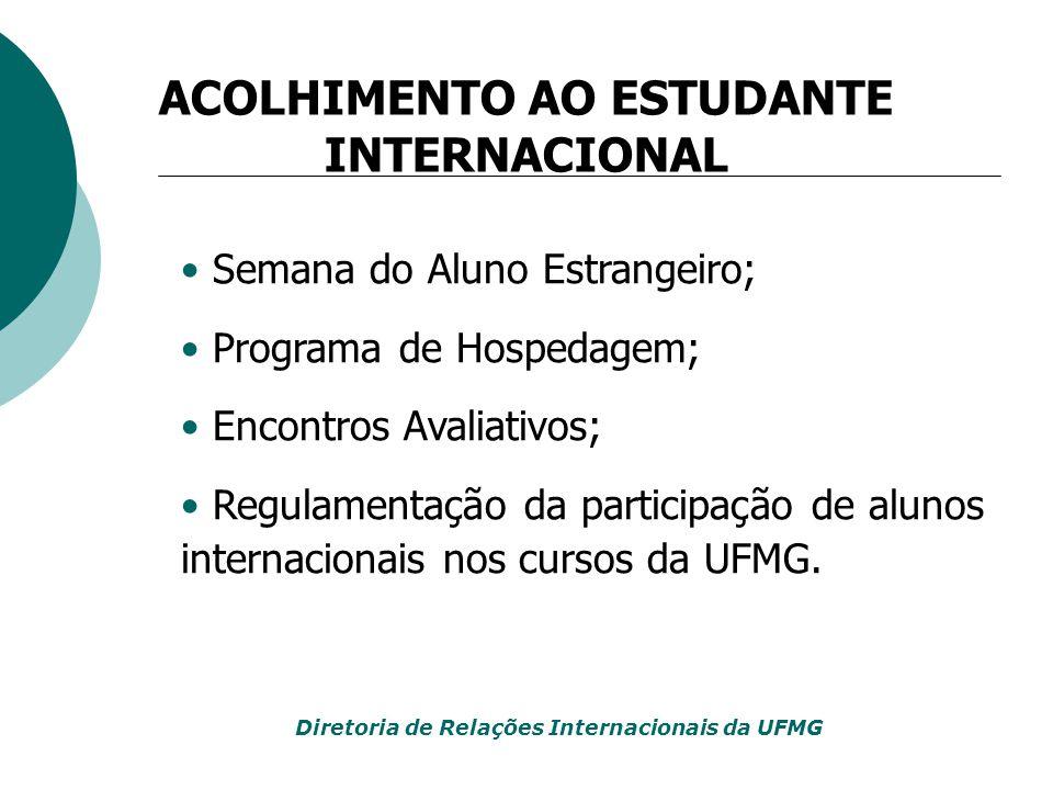 Semana do Aluno Estrangeiro; Programa de Hospedagem; Encontros Avaliativos; Regulamentação da participação de alunos internacionais nos cursos da UFMG