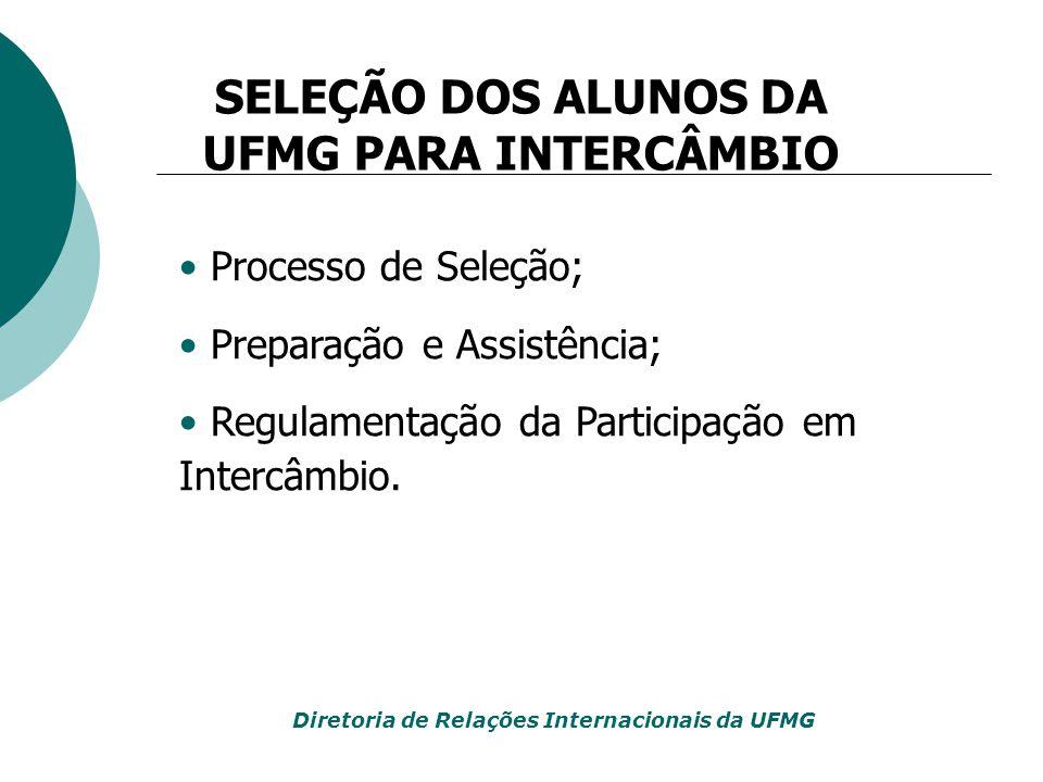 Processo de Seleção; Preparação e Assistência; Regulamentação da Participação em Intercâmbio. SELEÇÃO DOS ALUNOS DA UFMG PARA INTERCÂMBIO Diretoria de