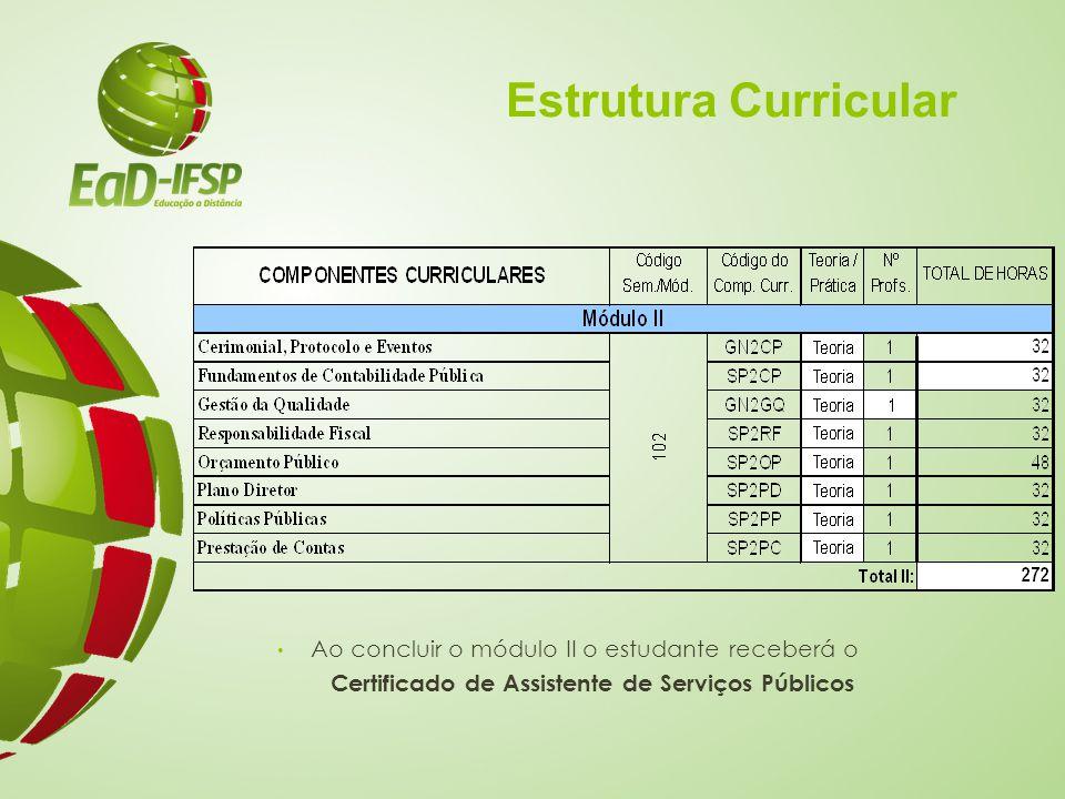 Estrutura Curricular Ao concluir o módulo II o estudante receberá o Certificado de Assistente de Serviços Públicos