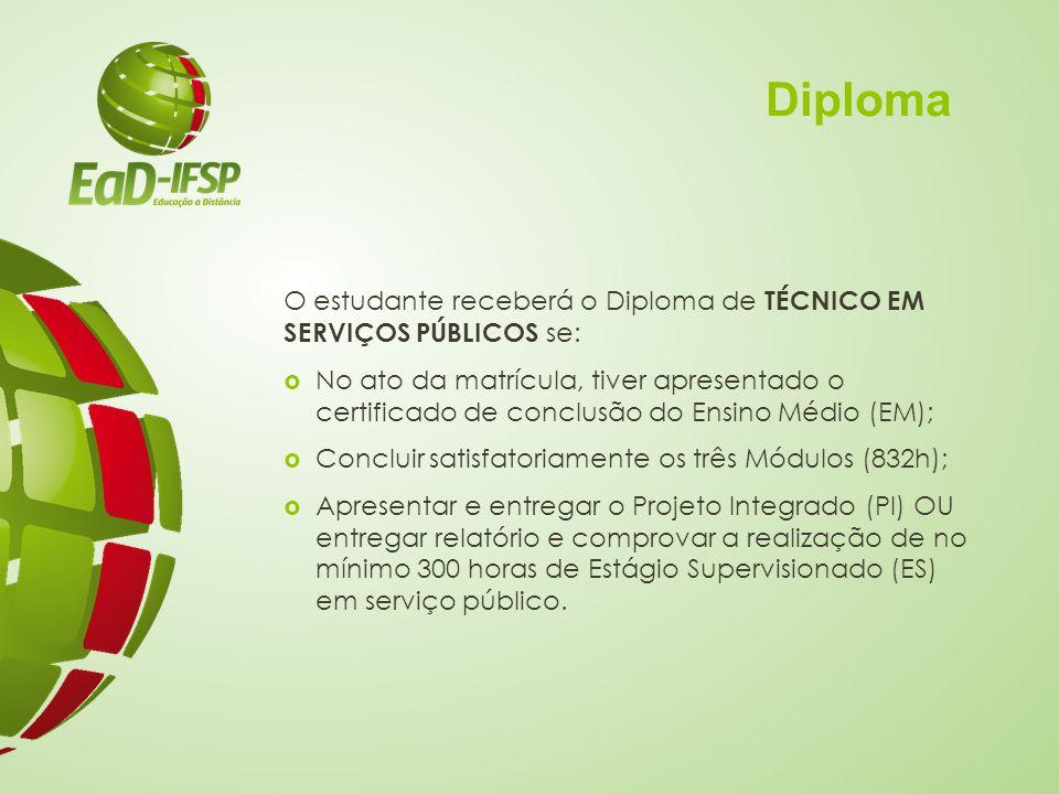 Diploma O estudante receberá o Diploma de TÉCNICO EM SERVIÇOS PÚBLICOS se:  No ato da matrícula, tiver apresentado o certificado de conclusão do Ensi
