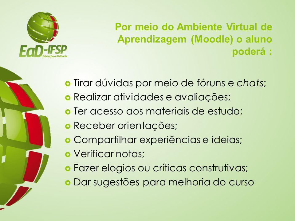 Por meio do Ambiente Virtual de Aprendizagem (Moodle) o aluno poderá :  Tirar dúvidas por meio de fóruns e chats;  Realizar atividades e avaliações;