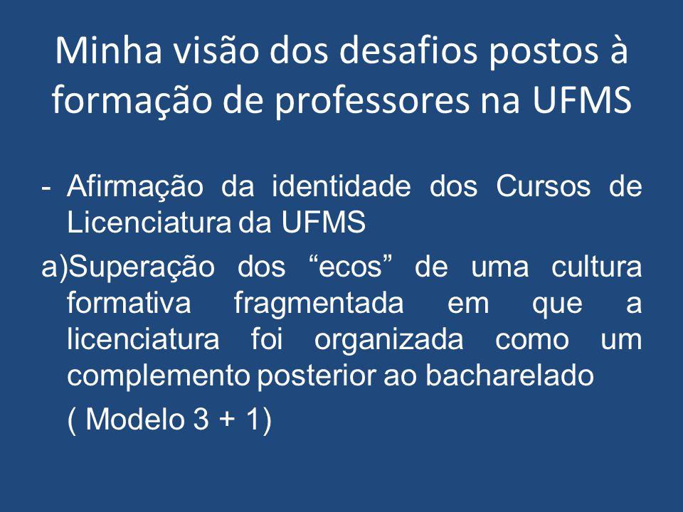 """Minha visão dos desafios postos à formação de professores na UFMS -Afirmação da identidade dos Cursos de Licenciatura da UFMS a)Superação dos """"ecos"""" d"""