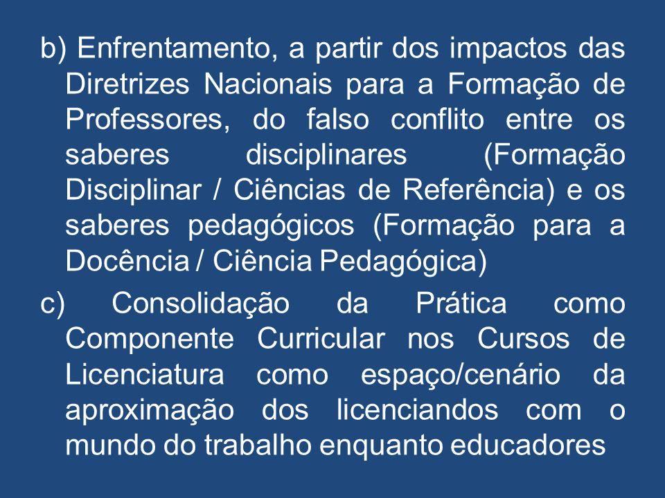 b) Enfrentamento, a partir dos impactos das Diretrizes Nacionais para a Formação de Professores, do falso conflito entre os saberes disciplinares (For