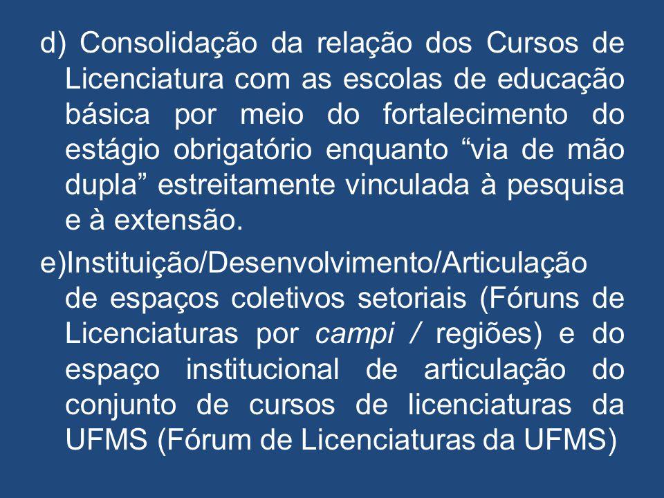 """d) Consolidação da relação dos Cursos de Licenciatura com as escolas de educação básica por meio do fortalecimento do estágio obrigatório enquanto """"vi"""