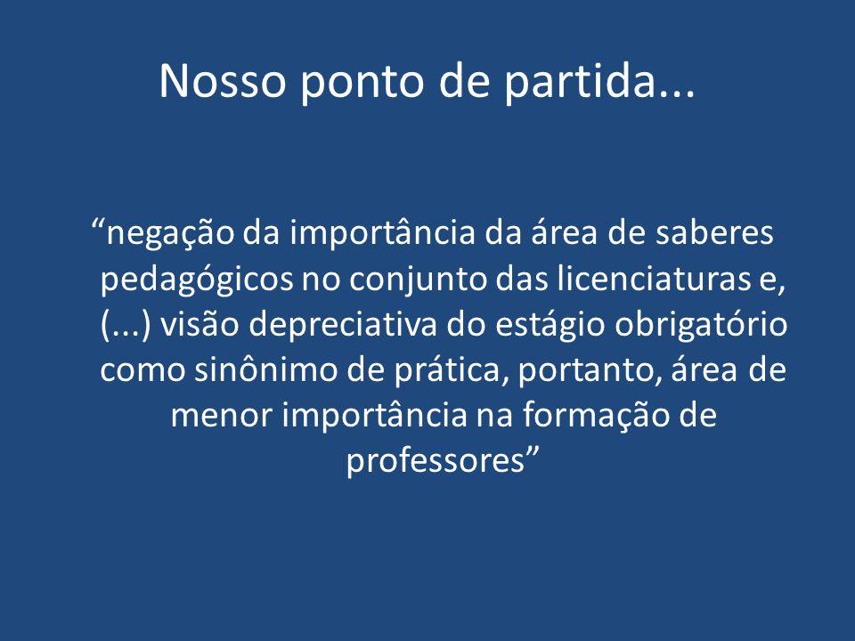 """Nosso ponto de partida... """"negação da importância da área de saberes pedagógicos no conjunto das licenciaturas e, (...) visão depreciativa do estágio"""