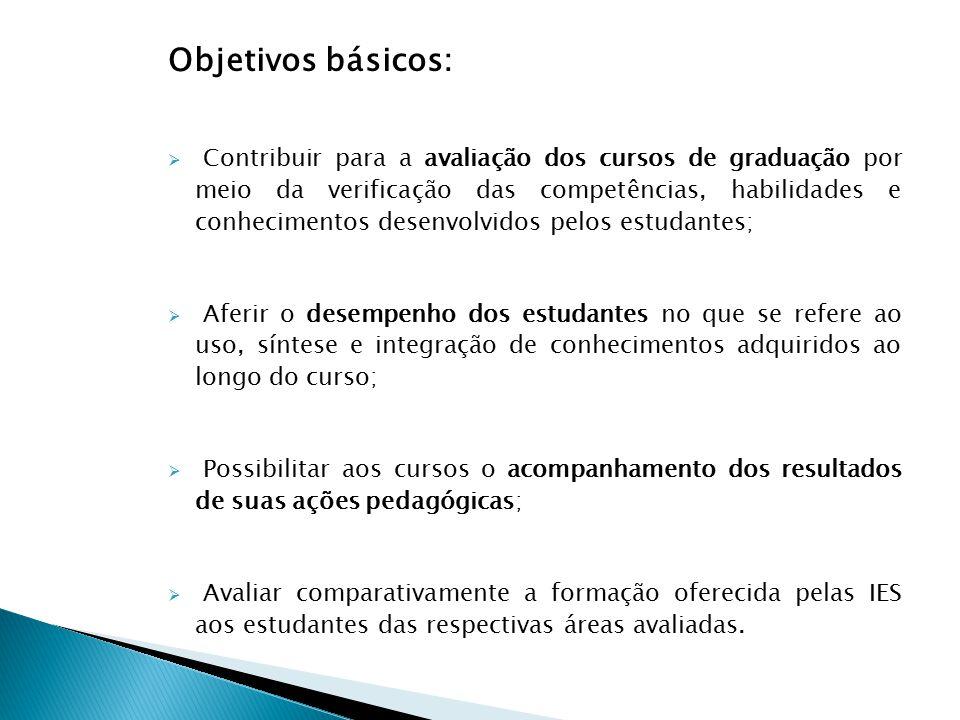 Objetivos básicos:  Contribuir para a avaliação dos cursos de graduação por meio da verificação das competências, habilidades e conhecimentos desenvo
