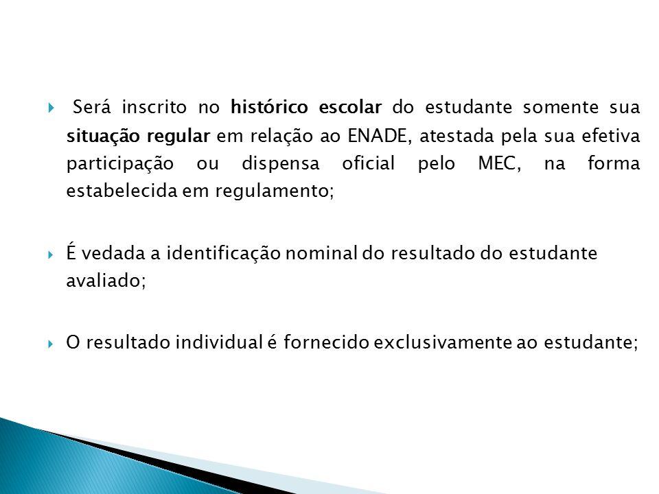  Será inscrito no histórico escolar do estudante somente sua situação regular em relação ao ENADE, atestada pela sua efetiva participação ou dispensa