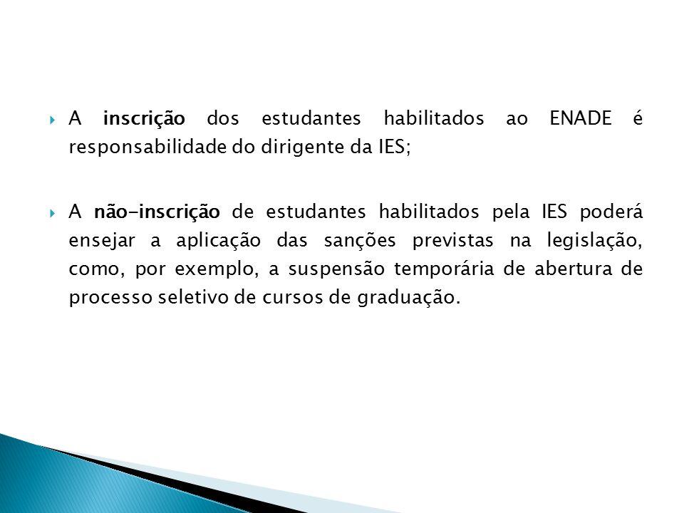  A inscrição dos estudantes habilitados ao ENADE é responsabilidade do dirigente da IES;  A não-inscrição de estudantes habilitados pela IES poderá