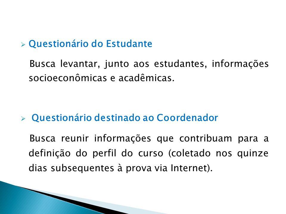  Questionário do Estudante Busca levantar, junto aos estudantes, informações socioeconômicas e acadêmicas.  Questionário destinado ao Coordenador Bu