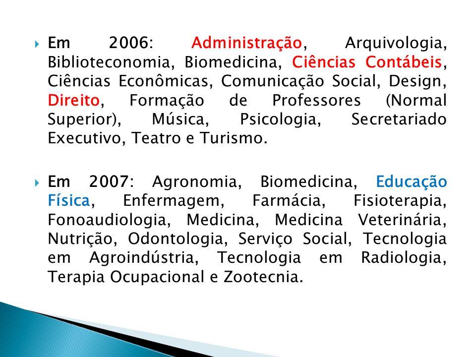  Em 2006: Administração, Arquivologia, Biblioteconomia, Biomedicina, Ciências Contábeis, Ciências Econômicas, Comunicação Social, Design, Direito, Fo