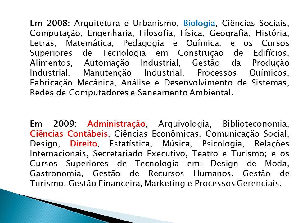 Em 2008: Arquitetura e Urbanismo, Biologia, Ciências Sociais, Computação, Engenharia, Filosofia, Física, Geografia, História, Letras, Matemática, Peda
