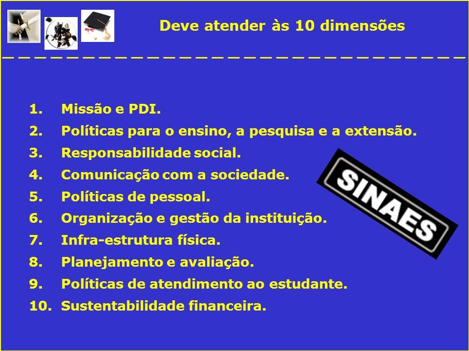 Deve atender às 10 dimensões 1.Missão e PDI. 2.Políticas para o ensino, a pesquisa e a extensão.