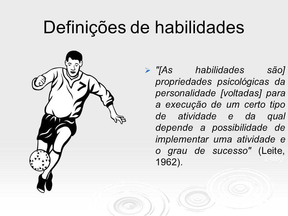 Definições de habilidades  As habilidades são complexos de propriedades mentais que adequam a pessoa para um determinado tipo de atividade socialmente útil (Rubinstein, 1959).