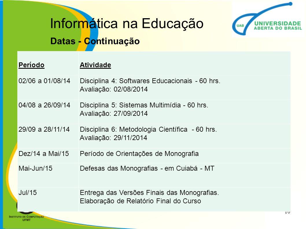 Informática na Educação Datas - Continuação 10 PeríodoAtividade 02/06 a 01/08/14Disciplina 4: Softwares Educacionais - 60 hrs. Avaliação: 02/08/2014 0