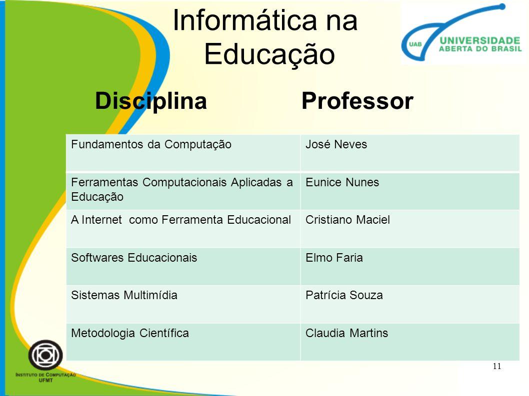Informática na Educação Disciplina Professor 11 Fundamentos da ComputaçãoJosé Neves Ferramentas Computacionais Aplicadas a Educação Eunice Nunes A Int