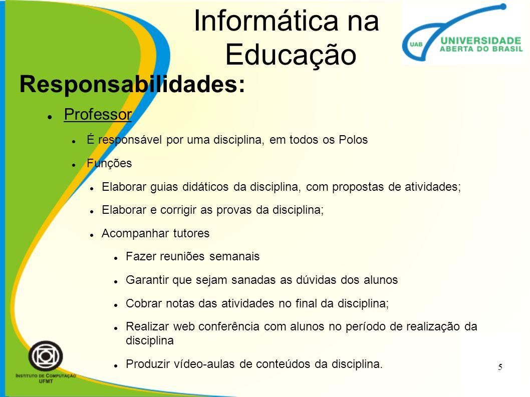 Informática na Educação Professor É responsável por uma disciplina, em todos os Polos Funções Elaborar guias didáticos da disciplina, com propostas de