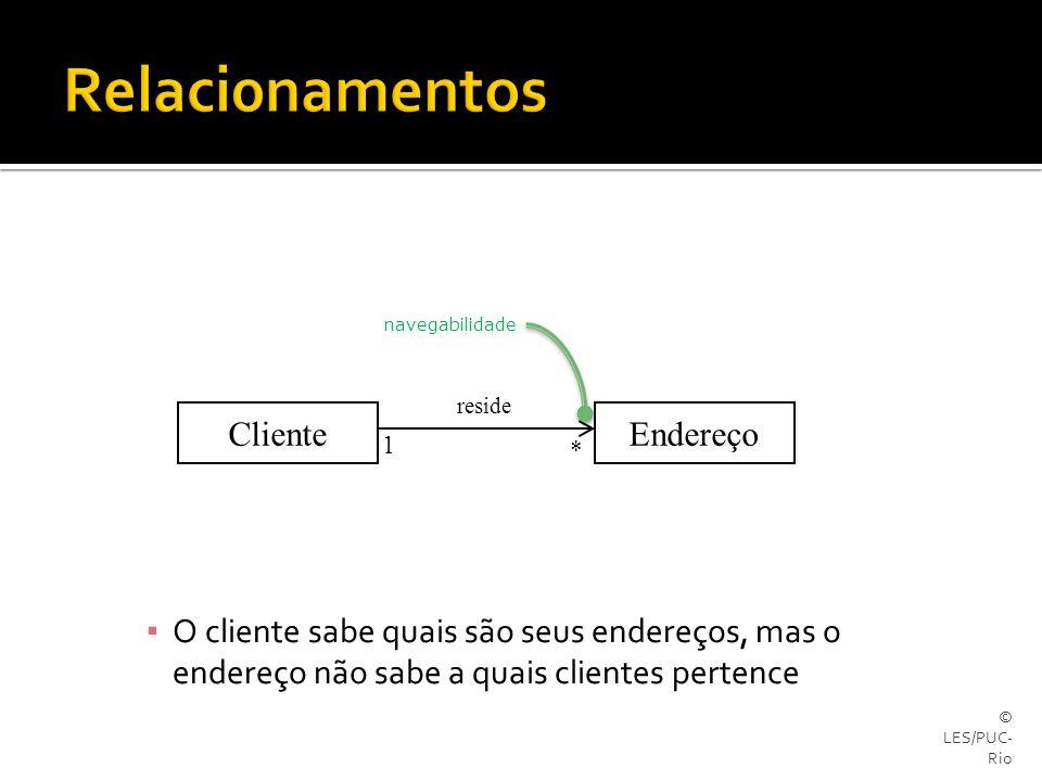 © LES/PUC- Rio ▪ O cliente sabe quais são seus endereços, mas o endereço não sabe a quais clientes pertence EndereçoCliente reside 1 * navegabilidade
