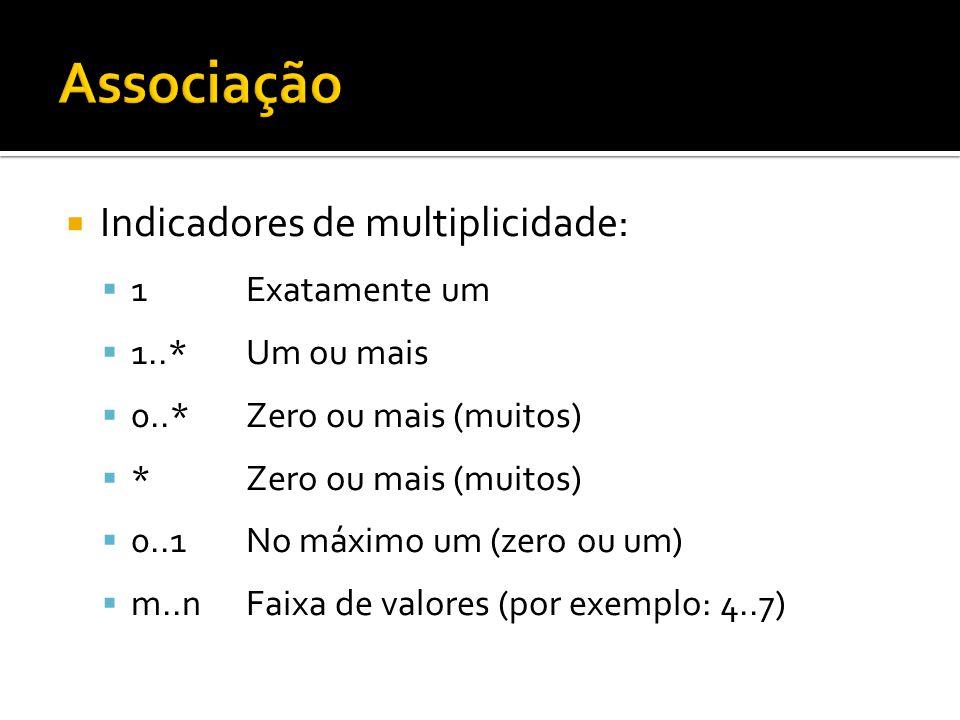  Indicadores de multiplicidade:  1Exatamente um  1..*Um ou mais  0..*Zero ou mais (muitos)  *Zero ou mais (muitos)  0..1No máximo um (zero ou um