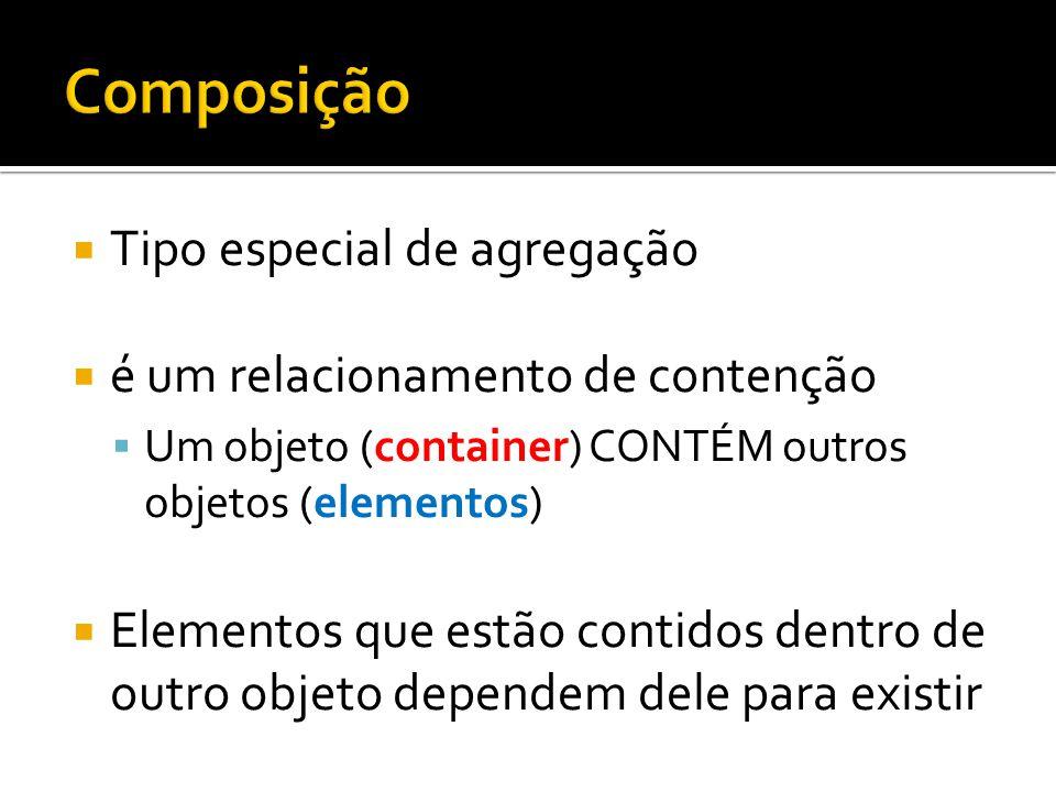  Tipo especial de agregação  é um relacionamento de contenção  Um objeto (container) CONTÉM outros objetos (elementos)  Elementos que estão contid