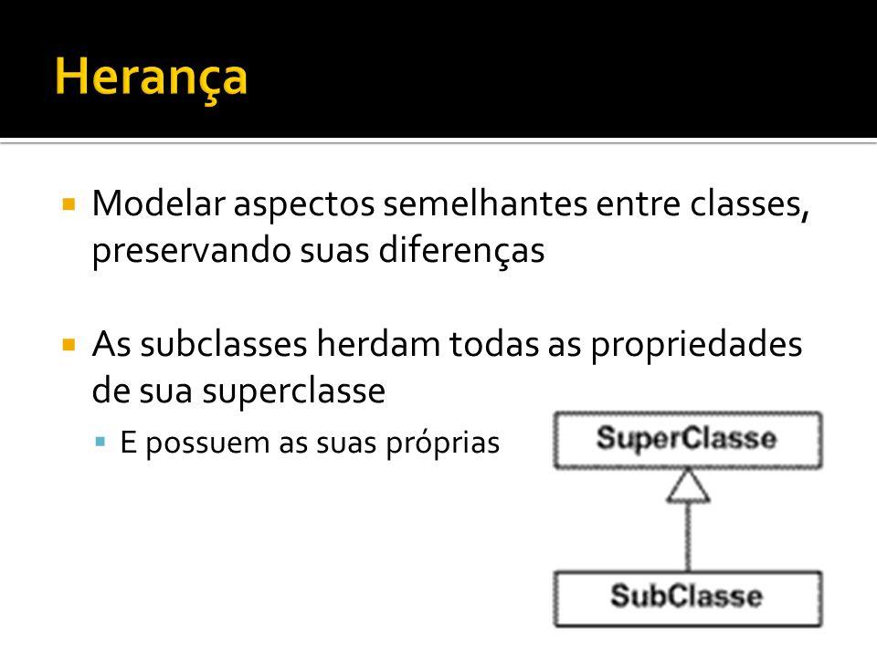  Modelar aspectos semelhantes entre classes, preservando suas diferenças  As subclasses herdam todas as propriedades de sua superclasse  E possuem