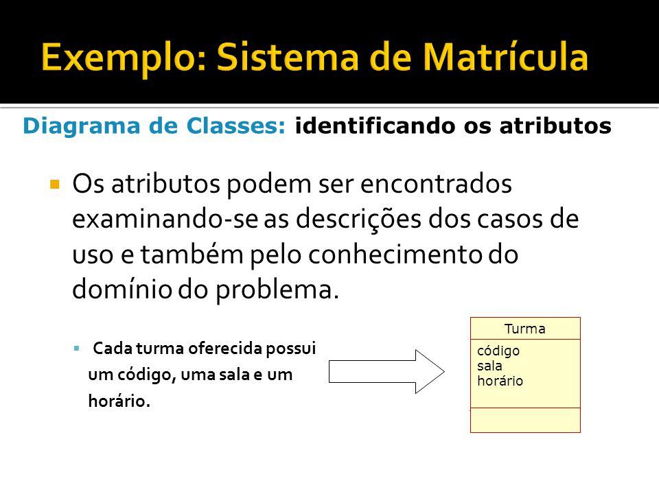  Os atributos podem ser encontrados examinando-se as descrições dos casos de uso e também pelo conhecimento do domínio do problema.  Cada turma ofer