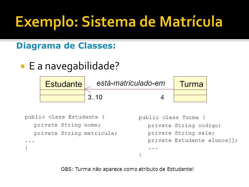  E a navegabilidade? public class Turma { private String codigo; private String sala; private Estudante alunos[];... } Diagrama de Classes: public cl