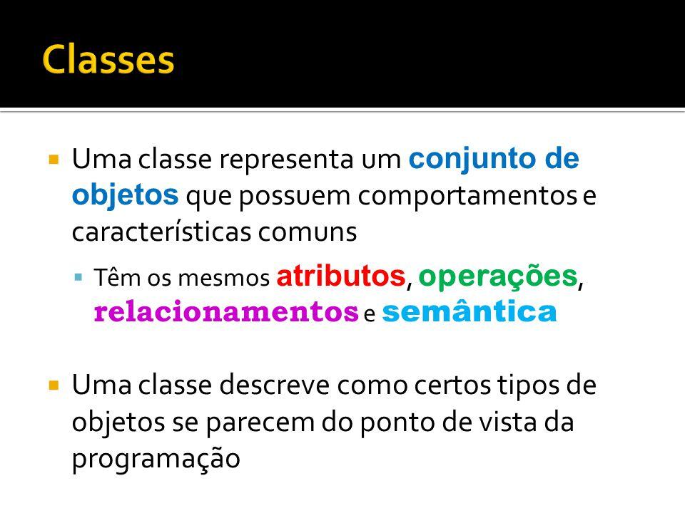  Uma classe representa um conjunto de objetos que possuem comportamentos e características comuns  Têm os mesmos atributos, operações, relacionament