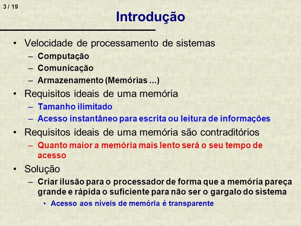 3 / 19 Introdução Velocidade de processamento de sistemas –Computação –Comunicação –Armazenamento (Memórias...) Requisitos ideais de uma memória –Tama
