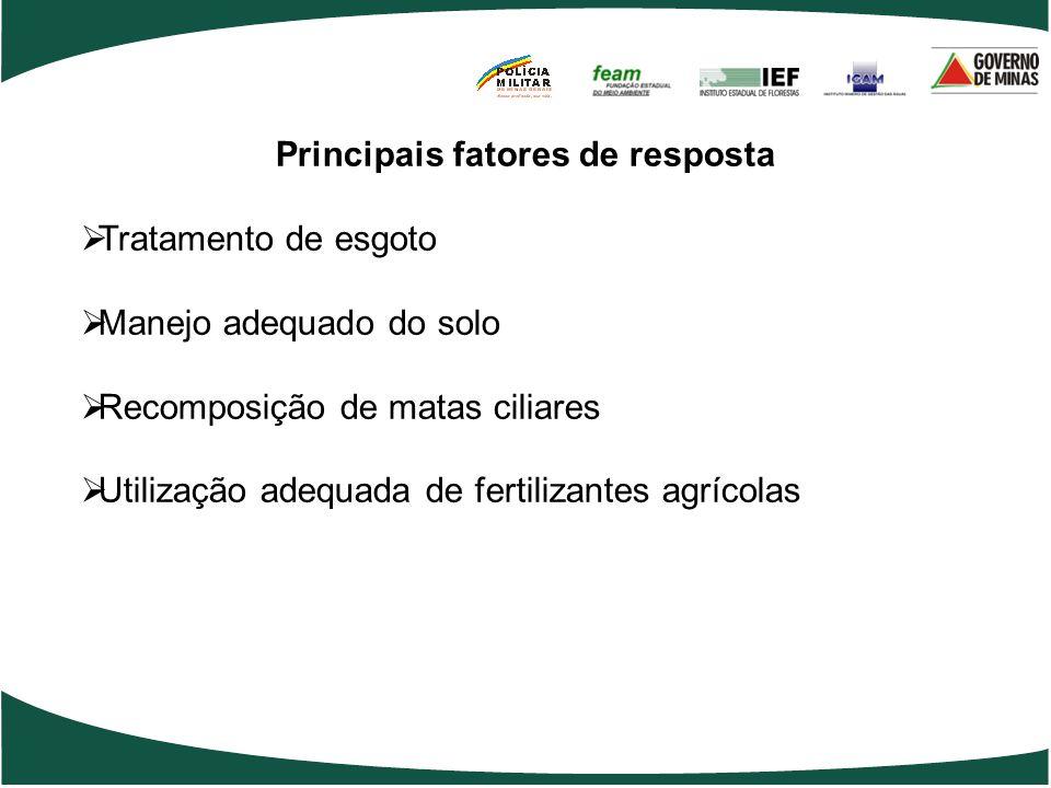 Principais fatores de resposta  Tratamento de esgoto  Manejo adequado do solo  Recomposição de matas ciliares  Utilização adequada de fertilizantes agrícolas