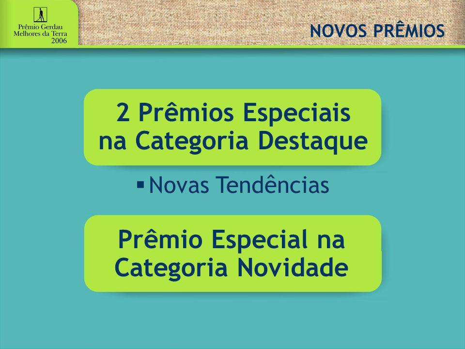 NOVOS PRÊMIOS 2 Prêmios Especiais na Categoria Destaque  Novas Tendências Prêmio Especial na Categoria Novidade
