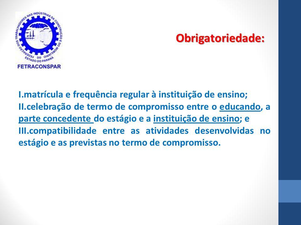 I.matrícula e frequência regular à instituição de ensino; II.celebração de termo de compromisso entre o educando, a parte concedente do estágio e a in