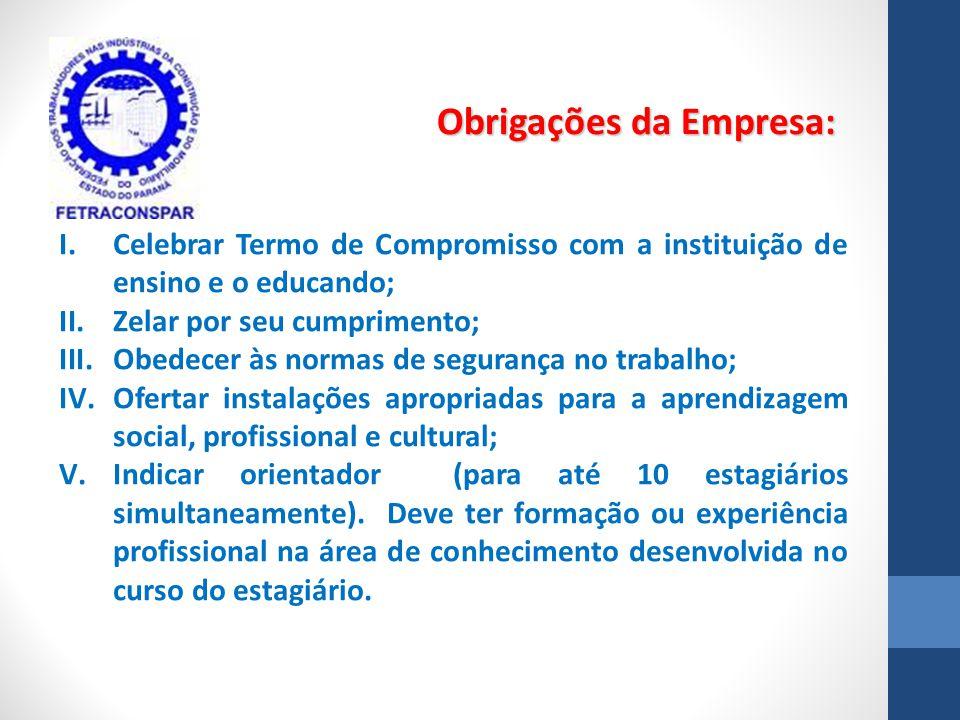 I.Celebrar Termo de Compromisso com a instituição de ensino e o educando; II.Zelar por seu cumprimento; III.Obedecer às normas de segurança no trabalh