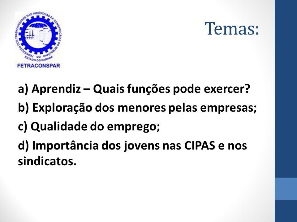 Temas: a) Aprendiz – Quais funções pode exercer? b) Exploração dos menores pelas empresas; c) Qualidade do emprego; d) Importância dos jovens nas CIPA