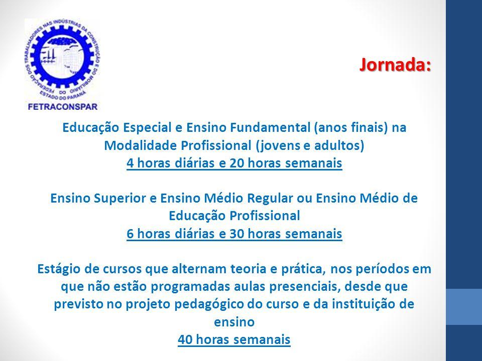 Educação Especial e Ensino Fundamental (anos finais) na Modalidade Profissional (jovens e adultos) 4 horas diárias e 20 horas semanais Ensino Superior
